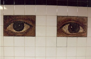 301 different eyes inside the subway station Chamber Street in New York