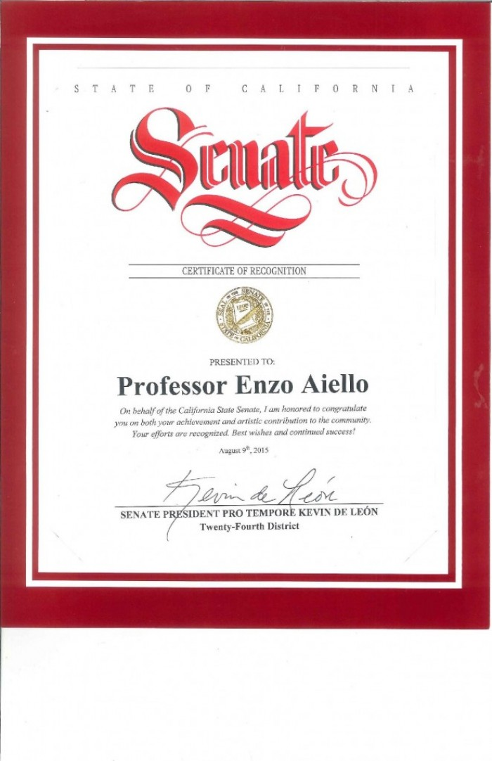 Certificate of recognition from the State of California